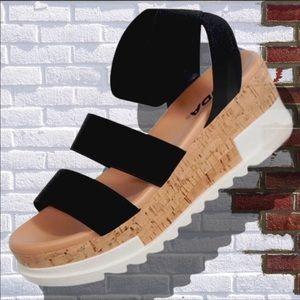 New! Soda Black Madyson Cork Flatform Wedge Sandal
